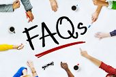 People Working and FAQs Concept
