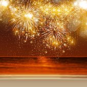 stock photo of happy new year 2014  - Happy New Year fireworks background in summer - JPG