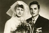 POLAND, CIRCA FIFTIES: Vintage photo of newlyweds