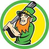 pic of hitter  - Illustration of a leprechaun baseball player batter hitter batting set inside circle on isolated background done in retro style - JPG