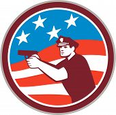 Policeman With Gun American Flag Circle Retro