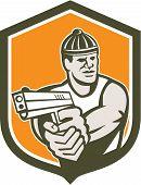 Robber Pointing Gun Shield Retro