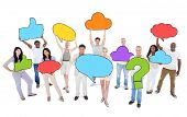 Multiethnic Group of People with Speech Bubbles and Symbol