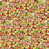 Fruits vegetable collage. Healthy nutrition concept