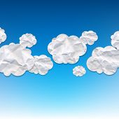 Clouds Crushed Paper And Blue Background With Gradient Mesh, Vector Illustration