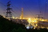 petrochemical industrial power plant factory at night