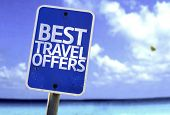 Best Travel Offers sign with a beach on background