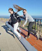 Teenage Sisters Enjoing The Costa Brava Winds