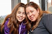 Portrait Of Mother And Daughter Hugging In A Cable Car