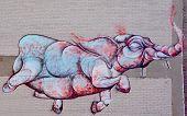 Street art Montreal flying elephant