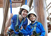 Sister And Brother On The Roap Course Sky Trail