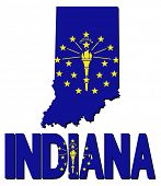 Indiana map flag and text illustration