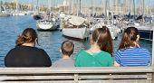 Sail Boats In Baecelona Port Harbor