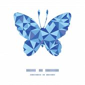 Vector blue triangle texture butterfly silhouette pattern frame