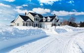 foto of plow  - A freshly plowed road in America suburbia after a snow storm - JPG