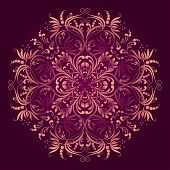 Floral Pattern With Round Damask Ornament