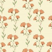 Botanical retro style seamless pattern with flowers. Hand drawn illustration vector.