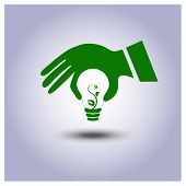 Green Ecology Light Bulb Icon In Hand