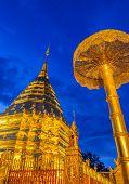 Golden Pagoda Of Doi Suthep Temple At Twilight, Landmark Of Chiang Mai, Thailand