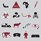 Ebola Disease Red And Black Stickers Set Eps10