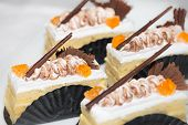 Vanilla Cakes With Chocolate Garnish