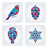 Winter mosaic icons