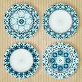 Plates with kaleidoscope pattern set