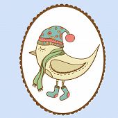Winter bird in openwork frame. Bird in clothing . Gift card