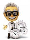 foto of professor  - 3d render cartoon of professor illustration series - JPG