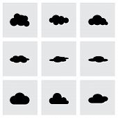 Vector black cloud icon set
