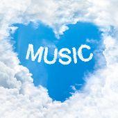 Music Word On Blue Sky