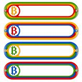 stock photo of bit coin  - four colored frames for any text with bit coin symbol - JPG