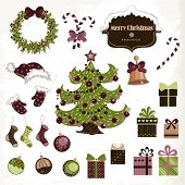 Set of isolated Christmas objects on white background