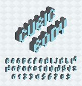 Cubic font, big colorful letters standing,