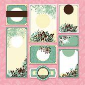 Set Of Floral Wedding Cards