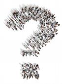 Large Group Of People With Questions, Thinking Concept, Or Quest For Answers On A White Background.