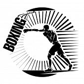 Boxing. Training with punching bag. Vector illustration in the engraving style