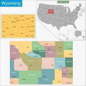 Map of Wyoming state designed in illustration with the counties and the county seats