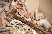 Old Wood Hammer In Demolition House