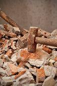 Hammer Hitting On Brick