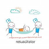 resuscitator carry on a stretcher patient