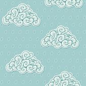 Seamless Background With Clouds. Vector Illustration. Waves Them