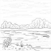 Landscape. Forest river outline