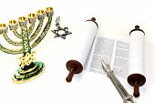 Torah Scroll With Menorah, Star Of David And Pointer