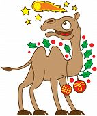 Christmas camel watching a comet in the sky