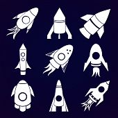 Vector rockets icons set on space background