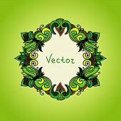 Fresh Green Background With Floral Frame. Summer Template With E