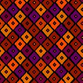 Vintage vector abstract seamless ikat pattern. Colorful textile