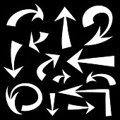 Vector set of hand drawn white arrows on black background