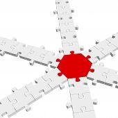3D Puzzle Connection / Teamwork Symbolism
